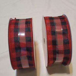 2 Spools 2.5 in Black/Red Ribbon